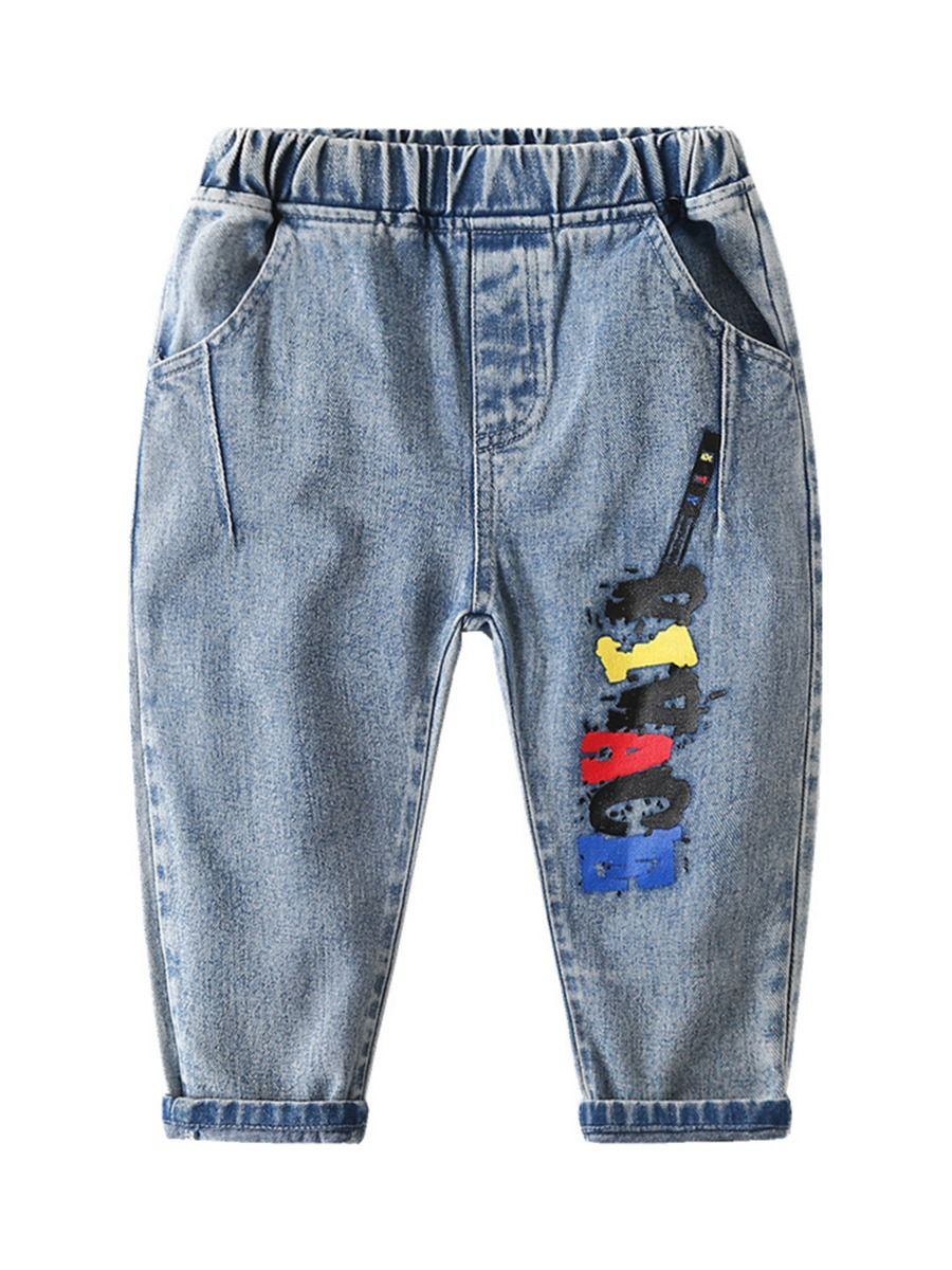 kiskissing wholesale boys clothes kid boy alphabet guitar jeans