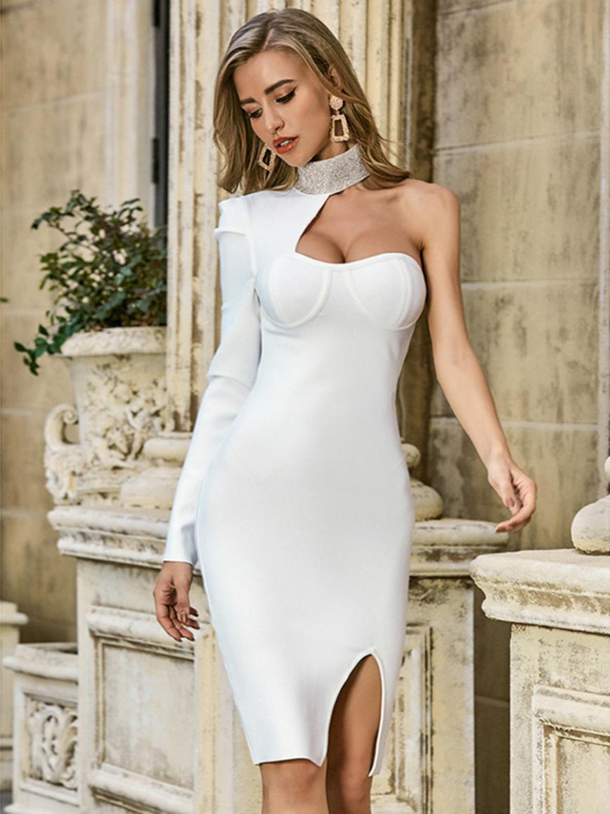 shestar wholesale one shoulder rhinestone collar split bandage dress